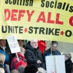 SSP Councillor Jim Bollam addresses bedroom tax protesters outside West Dumbartonshire Council meeting