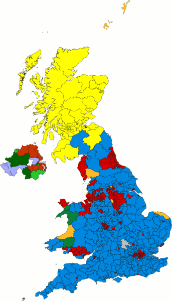Landslide swathes of yellow and blue