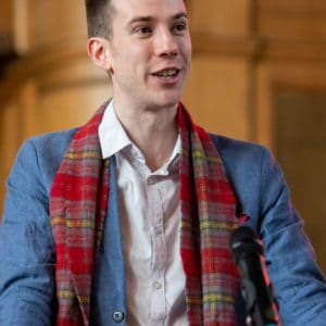 SSP co-chair Calum Martin with a very fetching Internationale tartan scarf